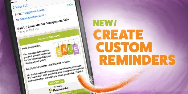custom email reminders sign up signupgenius