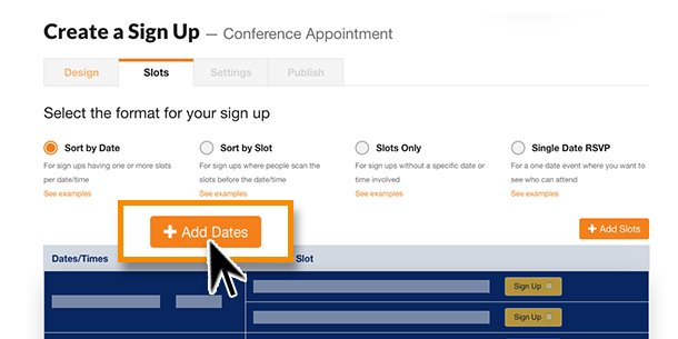image from sign up wizard of selecting the add dates option