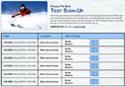 Skiing sign up sheet
