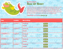 Under the Sea sign up sheet