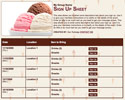 Ice Cream sign up sheet