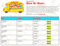 School Bus II sign up sheet