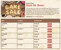 Bake Sale II sign up sheet