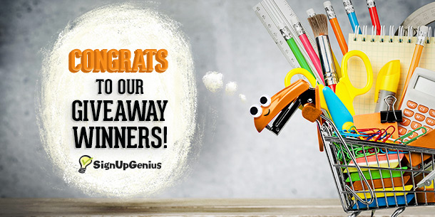 Back to school wish list, contest, winners, announcements, giveaway, SignUpGenius, teachers