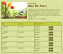 Gardening sign up sheet