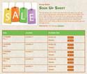Sale sign up sheet