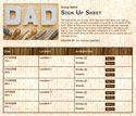 Father's Day sign up sheet