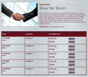 Business Agreement sign up sheet