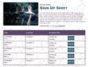 Ballet III sign up sheet