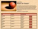 Basketball IV sign up sheet