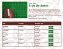 Football 6 sign up sheet