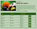 Multi Sports sign up sheet