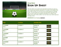Soccer 6 sign up sheet