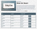 Truth sign up sheet