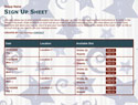 Star Spangled sign up sheet