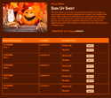 Jack O'Lantern III sign up sheet