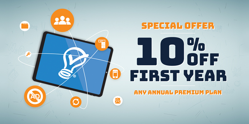 back to school tech graphic special offer 10 percent off any annual premium plan