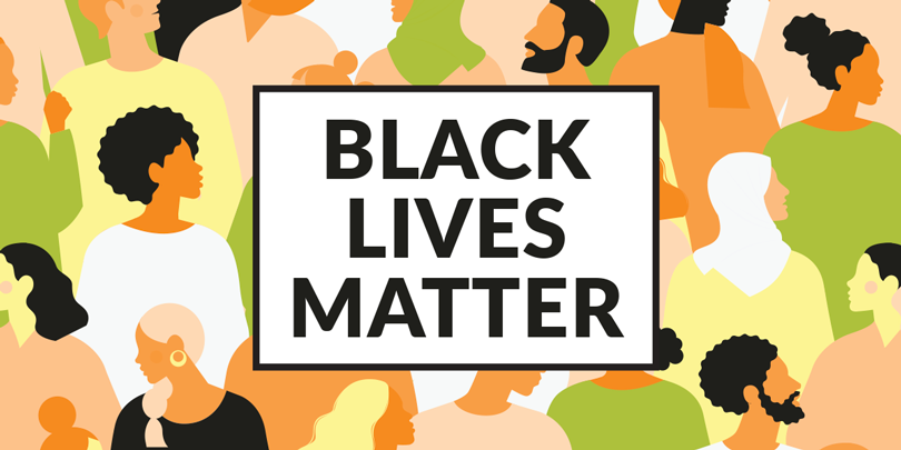 black lives matter graphic with collection of diverse people