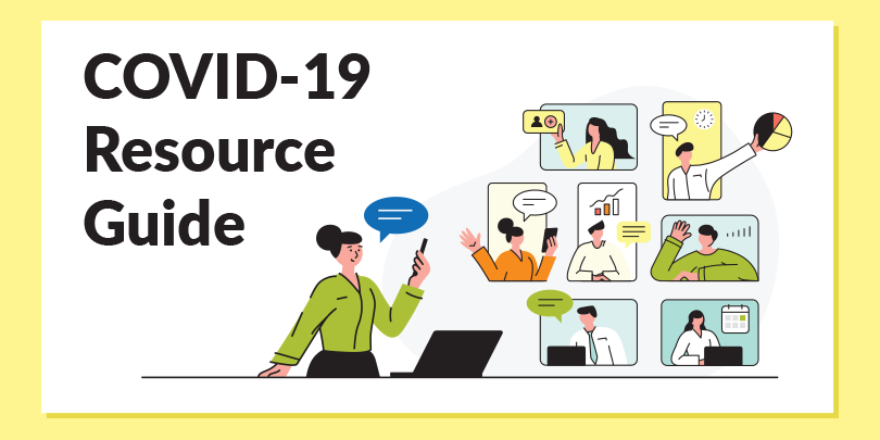 graphic with people on virtual chats and text saying COVID-19 Resource Guide