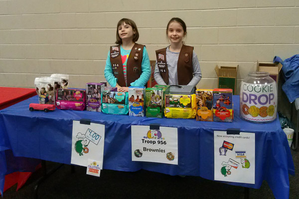 Girl Scout cookie booths, Raleigh Girl Scouts, Brownies, Cadettes