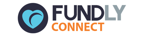 Graphic showing blue and orange Fundly Connect logo