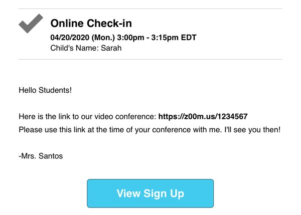 screenshot of email with a link to video conference