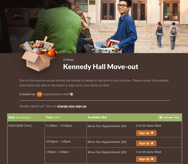screenshot of university hall move-out sign up