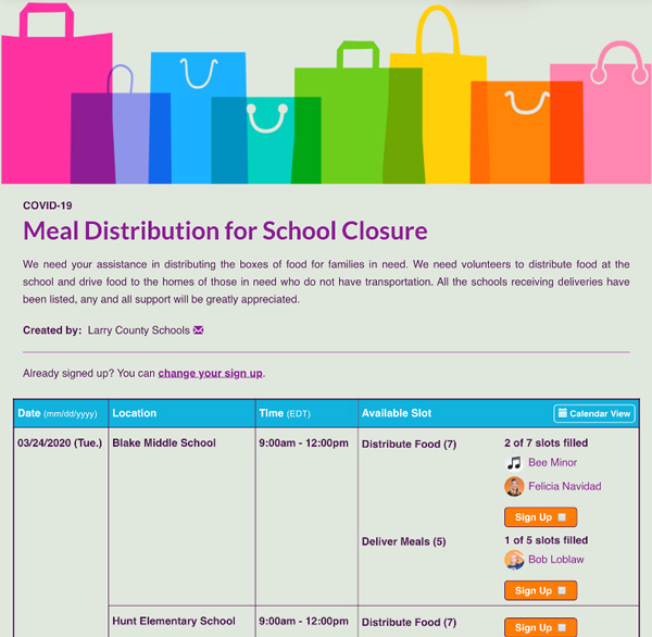screenshot of meal distribution for school closures