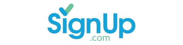 Graphic showing blue and green Sign Up dot com logo