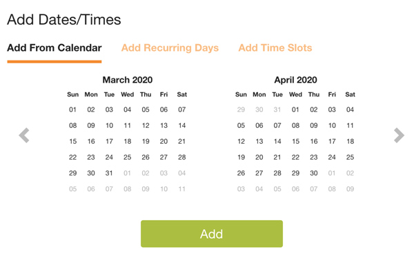 screenshot of how to add dates and times