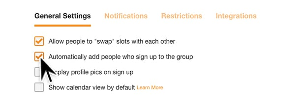 add email addresses to group settings selection