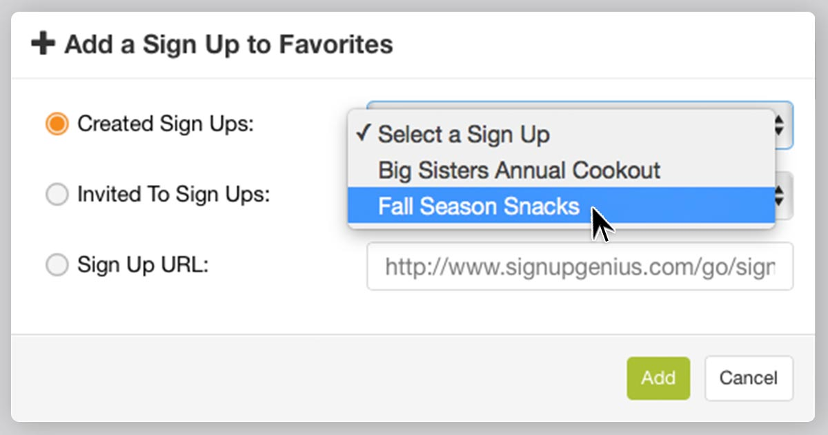 SignUpGenius organizing online sign ups folders favorites how to guide feature tips