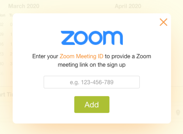 screenshot of area where you can enter your Zoom meeting ID on a sign up