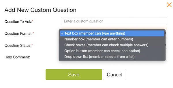 screenshot of different customer question options