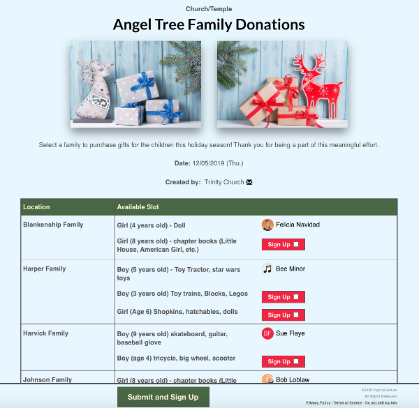 screenshot of angel tree donation sign up with images of wrapped holiday gifts