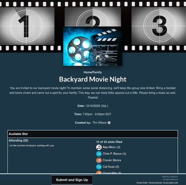 screenshot of sign up with slots for a backyard movie night