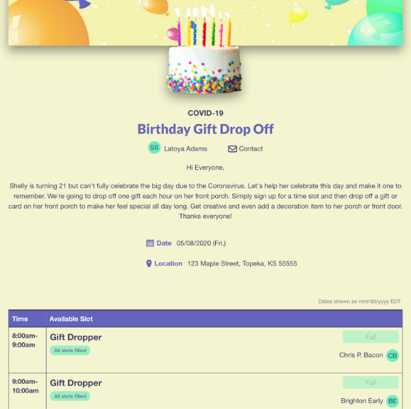 screenshot of sign up showing birthday gift drop off slots