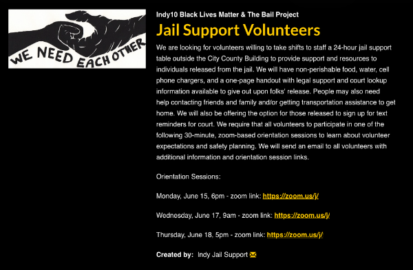 screenshot of jail support volunteers sign up with image text saying we need each other