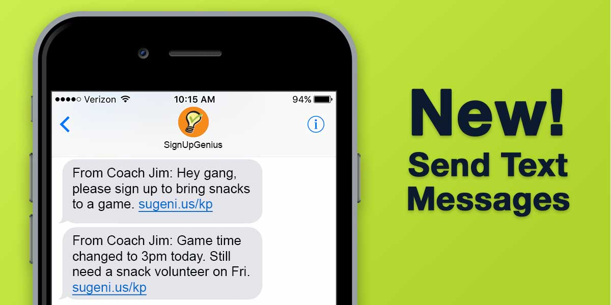 SignUpGenius new features text messaging screenshots mobile