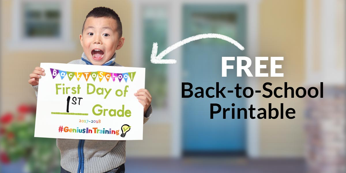 picture regarding First Day of School Sign Printable identified as Cost-free Printable: #GeniusInTraining Very first Working day of University Signal