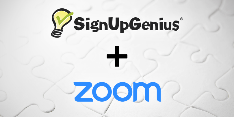 signupgenius plus zoom integrations graphic with puzzle background