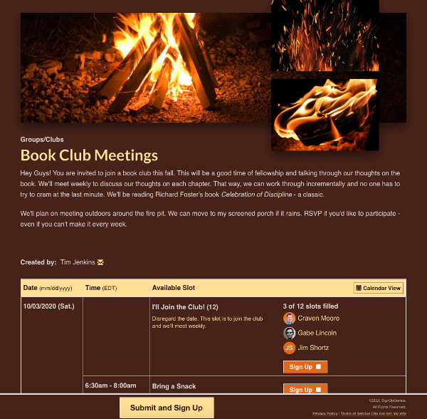 screenshot of book club sign up with bonfire image design