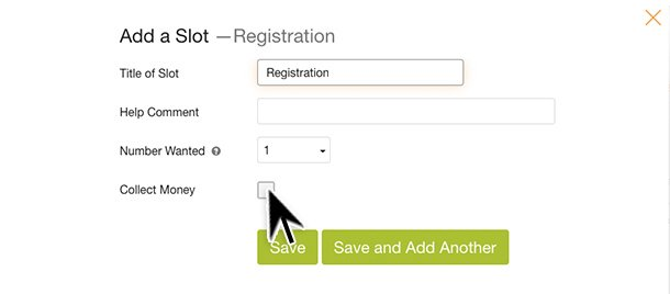 attach payment collect money feature to sign up slot selection