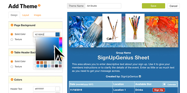 custom themes design builder colors palette sign ups