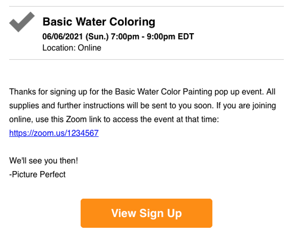 screenshot of a confirmation email for water coloring class with Zoom link