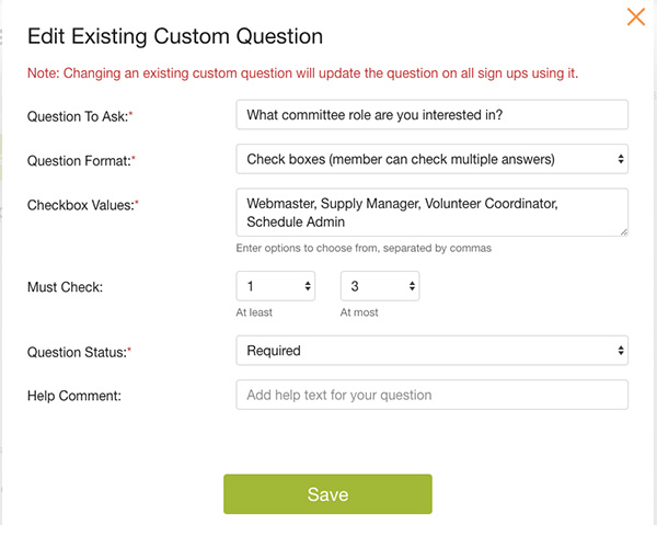 edit existing custom question