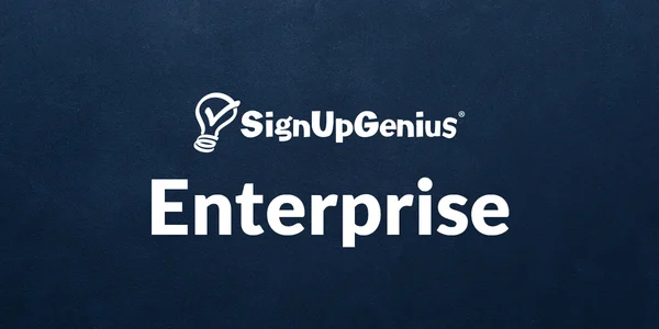 signupgenius enterprise logo on dark blue background