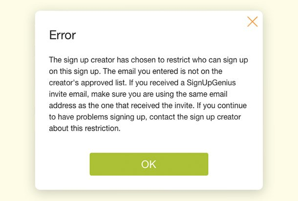 error reject sign ups approved list security feature