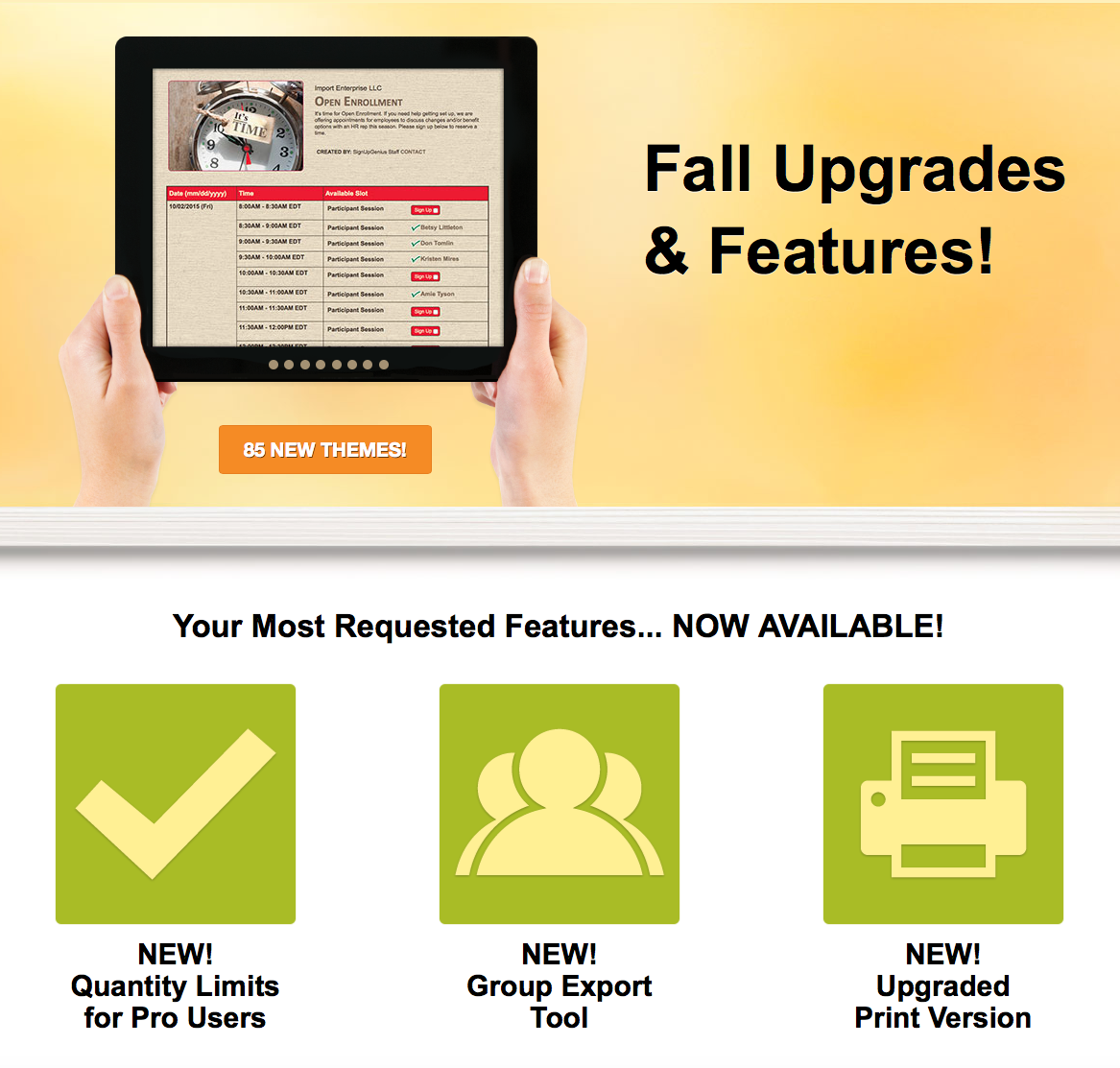 fall upgrades sign ups