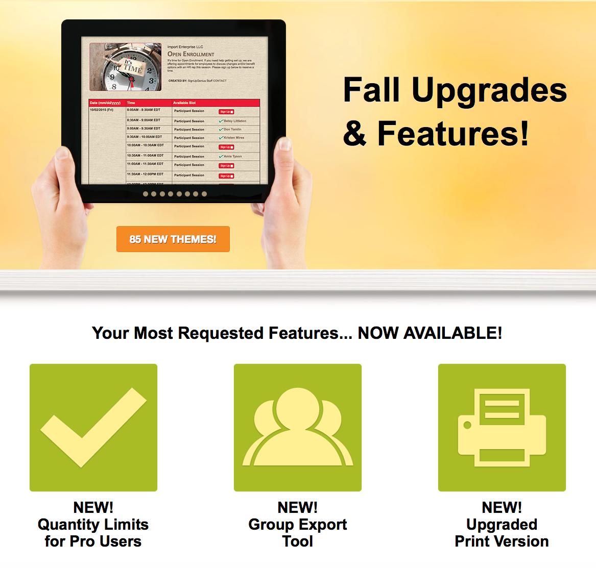 fall upgrades sign ups